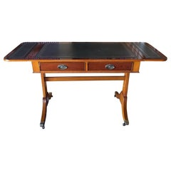 English Regency Style Walnut Sofa or Desk Table with Leather Top, 20th Century