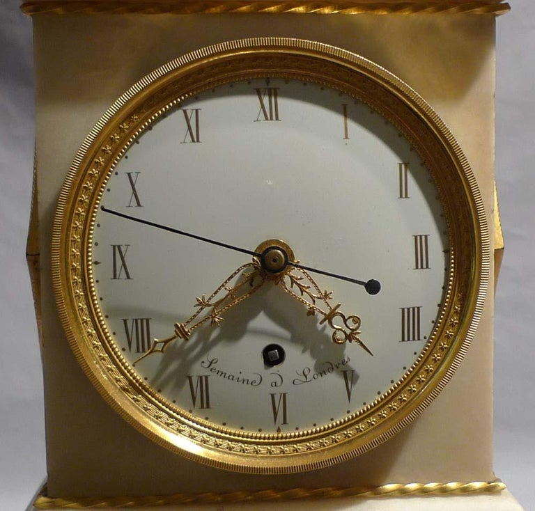 A superb quality and rare antique George III/English Regency neoclassical mantel clock by Thomas Weekes but signed as a conceit