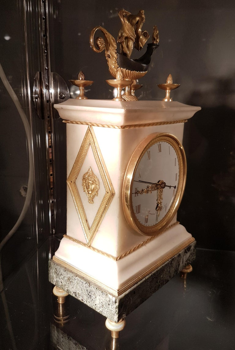 Patinated English Regency Thomas Weeks Neoclassical Marble and Ormolu Mantel Clock For Sale