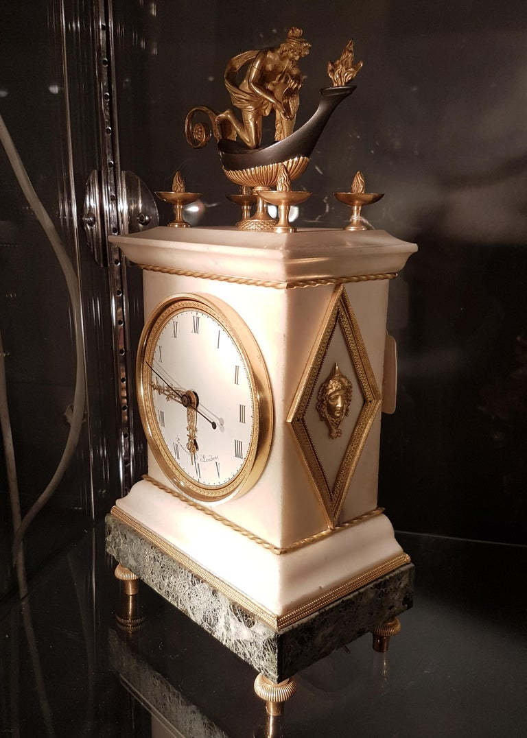 English Regency Thomas Weeks Neoclassical Marble and Ormolu Mantel Clock In Good Condition For Sale In London, GB