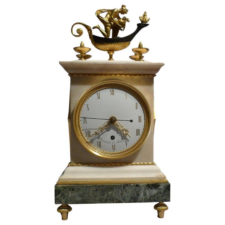 English Regency Thomas Weeks Neoclassical Marble and Ormolu Mantel Clock For Sale