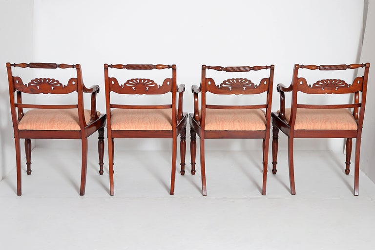 Hand-Carved English Regency Trafalgar Dining Chairs / Set of Eight '8' For Sale