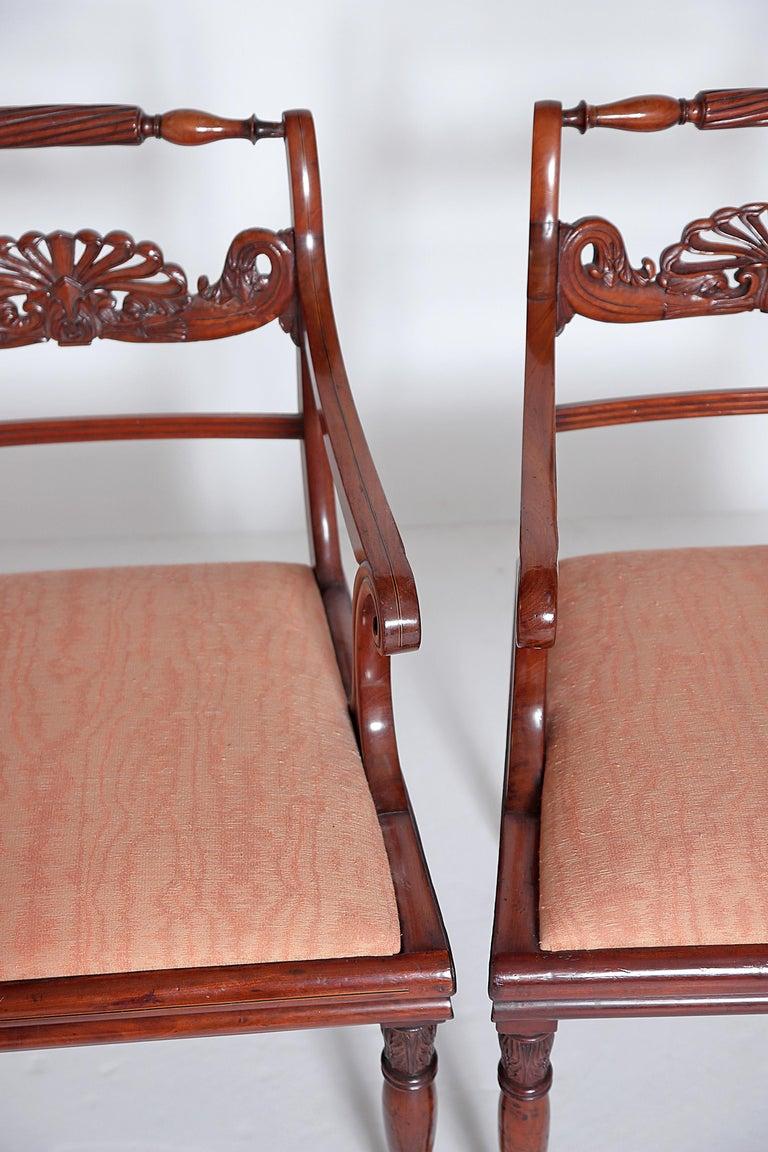 Cotton English Regency Trafalgar Dining Chairs / Set of Eight '8' For Sale