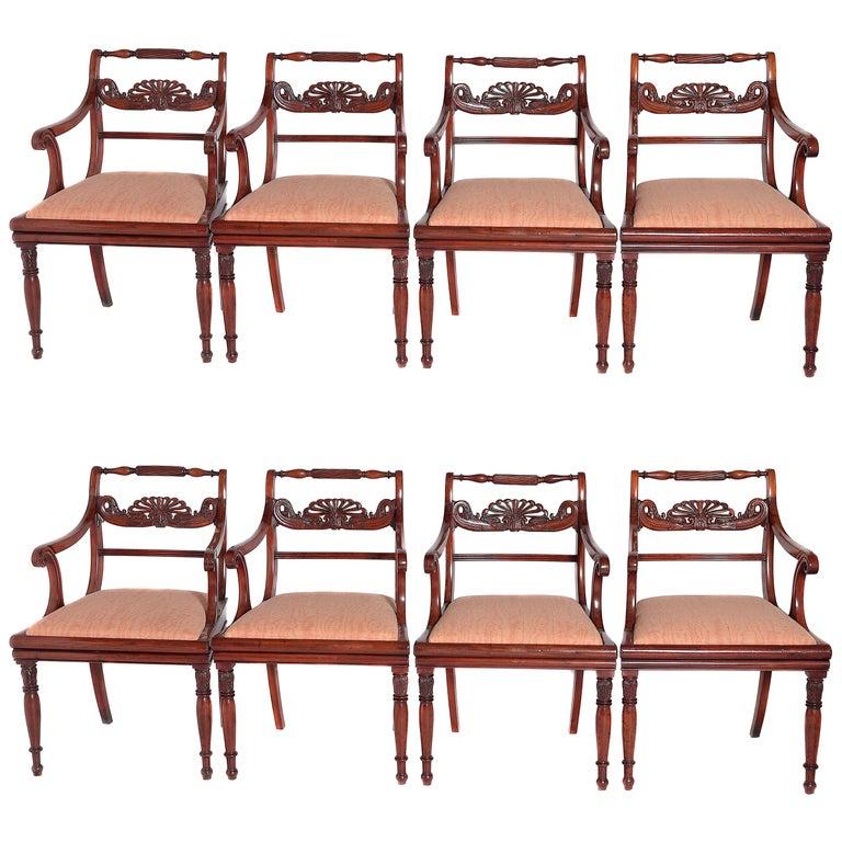 English Regency Trafalgar Dining Chairs / Set of Eight '8' For Sale