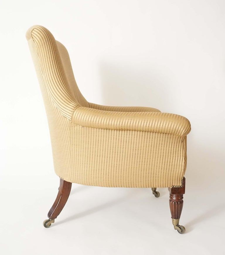 Hand-Carved English Regency Upholstered Armchair of Large Size, circa 1830 For Sale