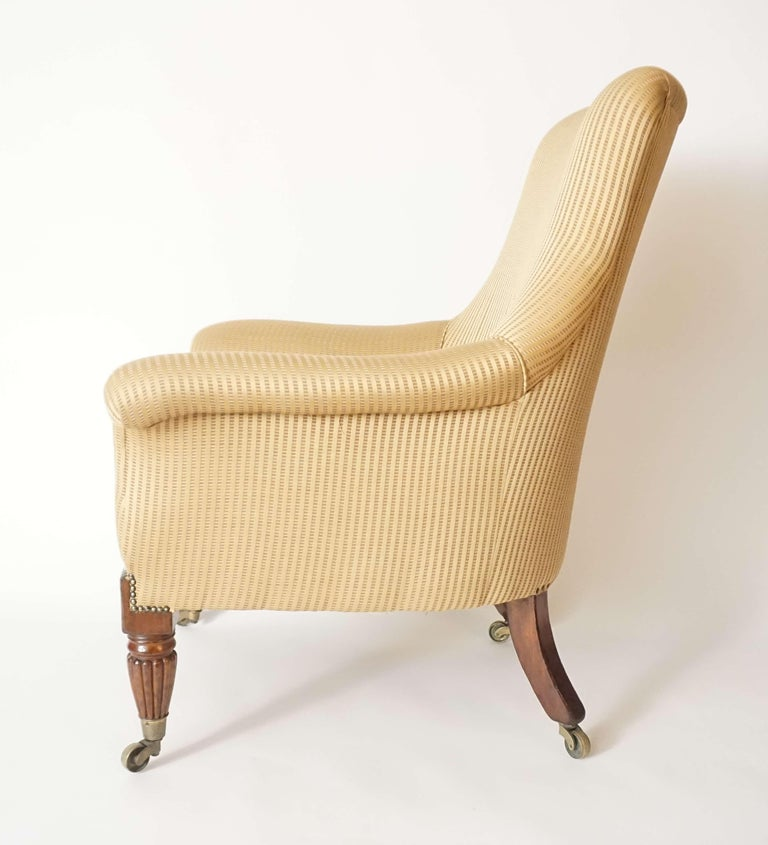 19th Century English Regency Upholstered Armchair of Large Size, circa 1830 For Sale