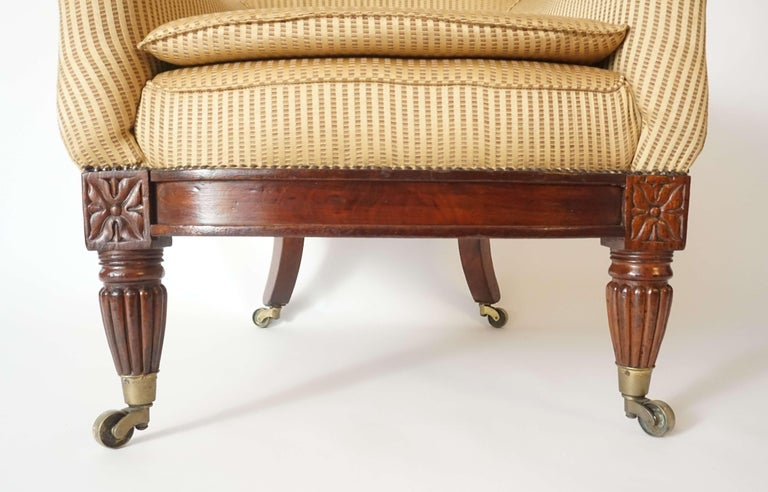 Brass English Regency Upholstered Armchair of Large Size, circa 1830 For Sale