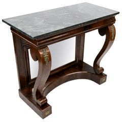 English Regency Verde Marble Top Console Table