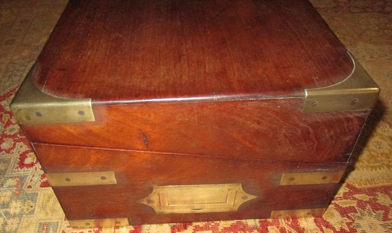 Brass English Regency Walnut Travelling Lap Desk Box with Secret Compartment For Sale