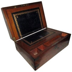 English Regency Walnut Traveling Lap Desk Box with Secret Compartment