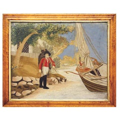 English Regency Wool and Silk Picture Unusually Decorated with a Sailor and Boat