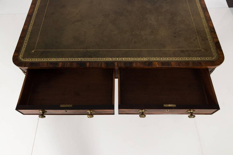 Embossed English Regency Writing Table, circa 1820 For Sale