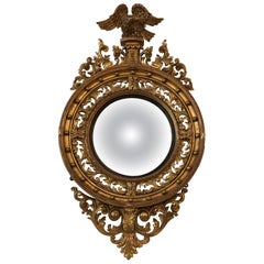 English Regency Giltwood Convex Mirror, 19th Century