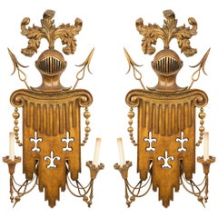 English Renaissance Gilt Metal and Fruitwood Wall Sconces