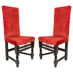 English Renaissance Red Velvet Chairs