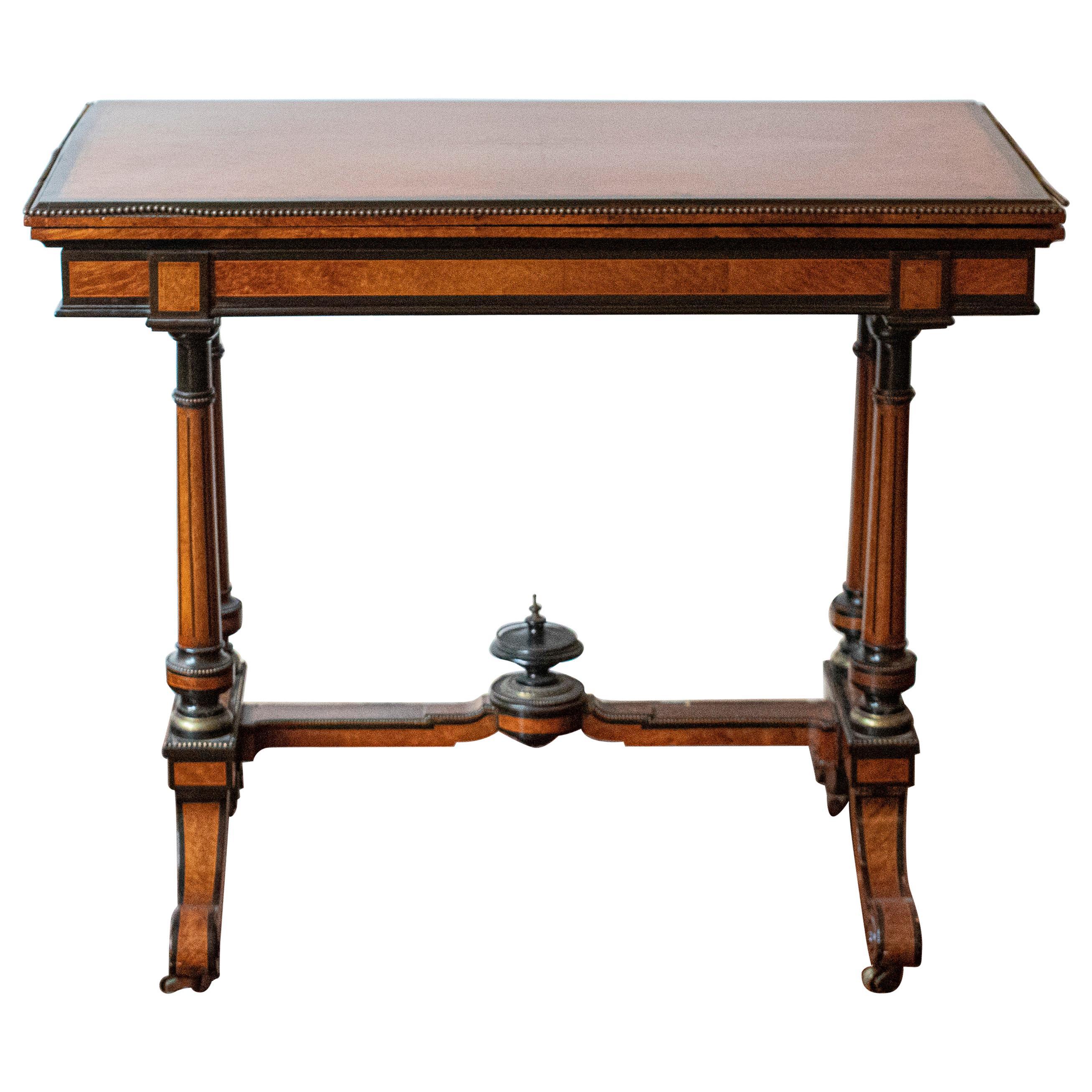 English Renaissance Revival Amboyna Wood Flip Top Card Table