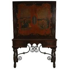 English Renaissance Style Pictorial Mahogany and Iron Highboy Cabinet