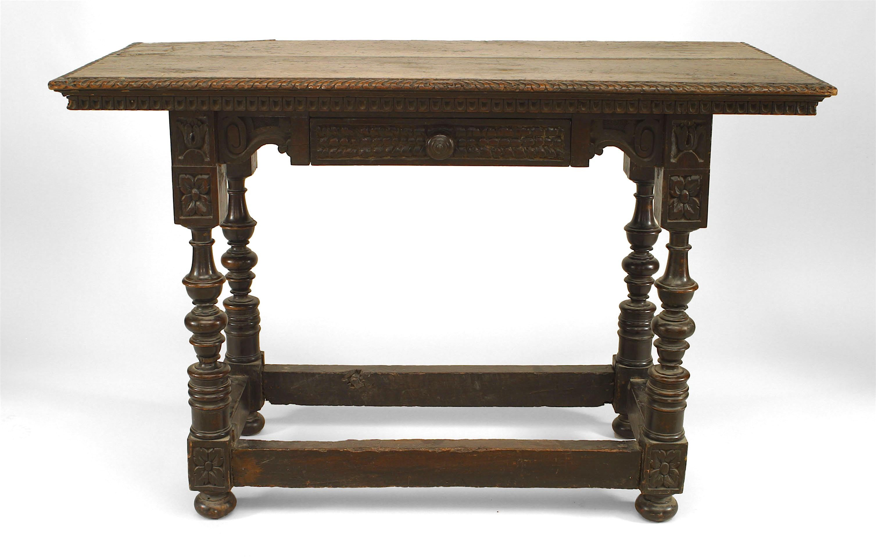 Small 19th C Mahogany Table With Decorative H-stretcher And Turned Detail Furniture