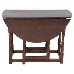 English Renaissance-Style Walnut Drop Leaf Center Table