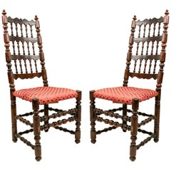 English Renaissance Walnut Side Chairs