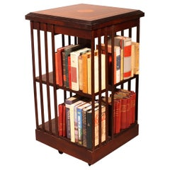 English Revolving Bookcase in Mahogany and Inlays