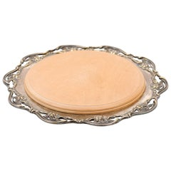 English R.F. Mosley & Co Round Silver Plated Tray with Pierced Scalloped Border