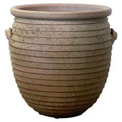 English Ribbed Terracotta Pot or Planter Jar for the Garden