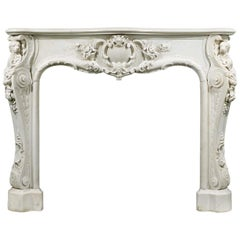 English Rococo Statuary Marble Antique Chimneypiece