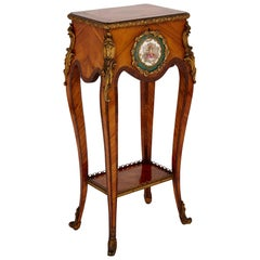 English Rococo Style Side Table Mounted with Gilt Bronze and Porcelain