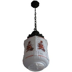English Roman Classical St. Flowers Decorated Opaline / Milk Glass Pendant Light
