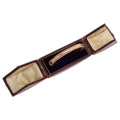 English Rose Gold Bangle in Period Box, 19th Century