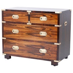 English Rosewood Campaign Style Chest of Drawers