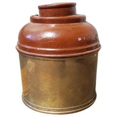 English Round Brass Tobacco Box