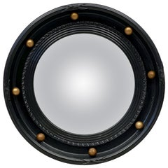 English Round Ebony Black and Gold Framed Convex Mirror (Diameter 14 1/2)