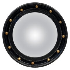 English Round Ebony Black and Gold Framed Convex Mirror (Diameter 15 7/8)