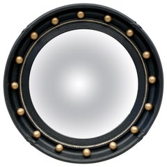 English Round Ebony Black and Gold Framed Convex Mirror