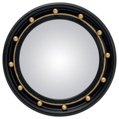 English Round Ebony Black and Gold Framed Convex Mirror (Diameter 16 14)