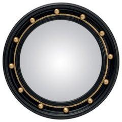 English Round Ebony Black and Gold Framed Convex Mirror