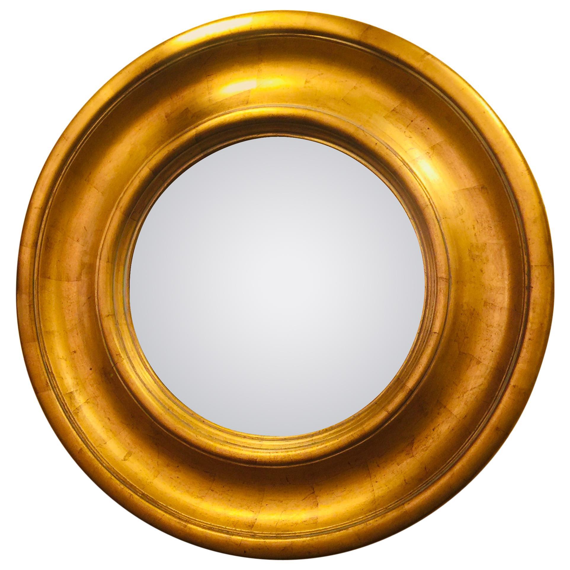 English Round Gilded Wooden Mirror