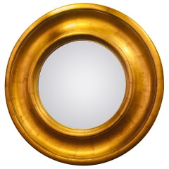 English Round Gilded Wooden Mirror