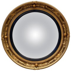 English Round Gilt Framed Convex Mirror