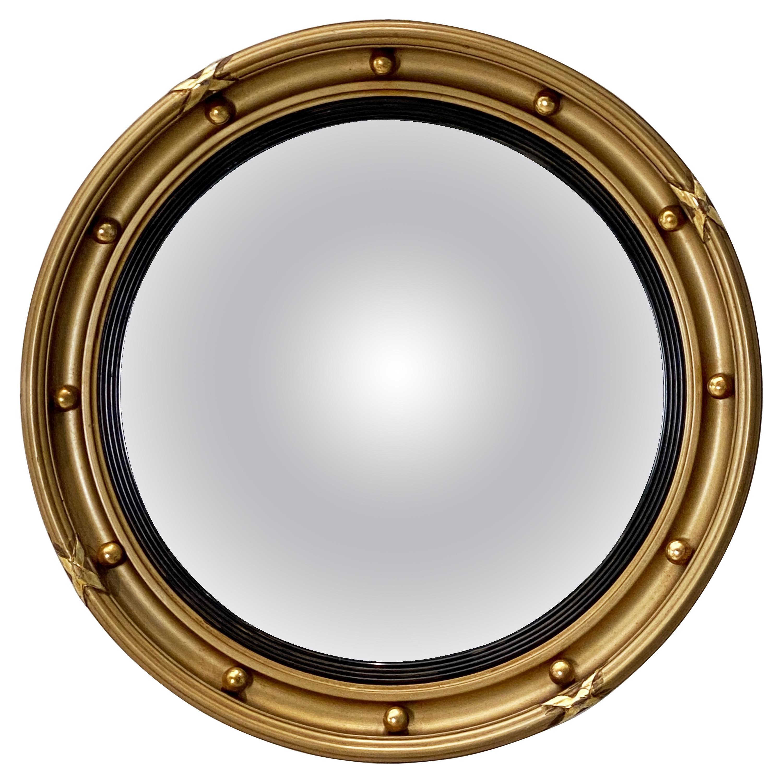 English Round Gilt Framed Convex Mirror (Dia 15 3/4)