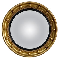 English Round Gilt Framed Convex Mirror (Dia 16 1/4)
