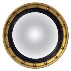 English Round Gilt Framed Convex Mirror (Diameter 18 3/4)