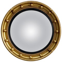 English Round Gilt Framed Convex Mirror (Diameter 16 1/4)