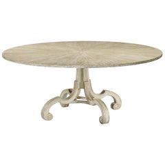 English Round Oak Dining Table, Venetian Silver