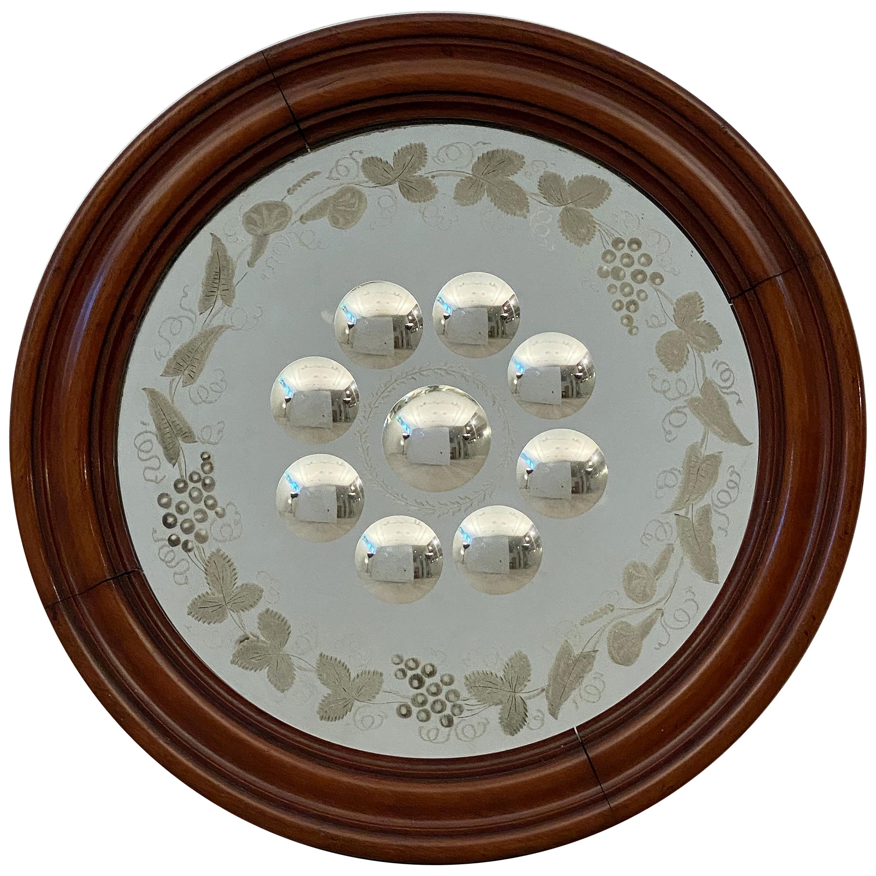 English Round Sorcerer's or Bullseye Convex Mirror (Diameter 15)