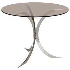 English Round Table with Metal Legs and Smoked Glass Top