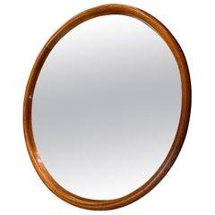 English Round Wooden Frame Mirror