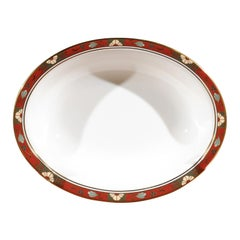 English Royal Crown Derby Porcelain Serving Bowl with a 1317 Cloisonné Pattern